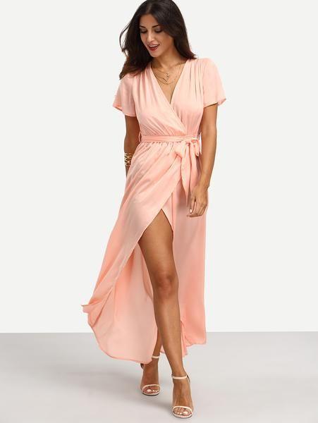 c4a8cb1e5b1 Pink Tie Waist V Neck Short Sleeve Split Dress - Zooomberg | Fashion ...