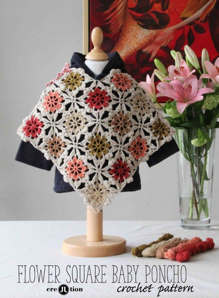 Free Crochet Pattern For The Flower Square Baby Poncho Roupas De