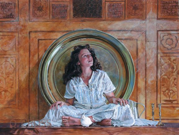 """Mary Jane Q Cross     """"The Contemplative""""      30 x 40 oil on canvas"""