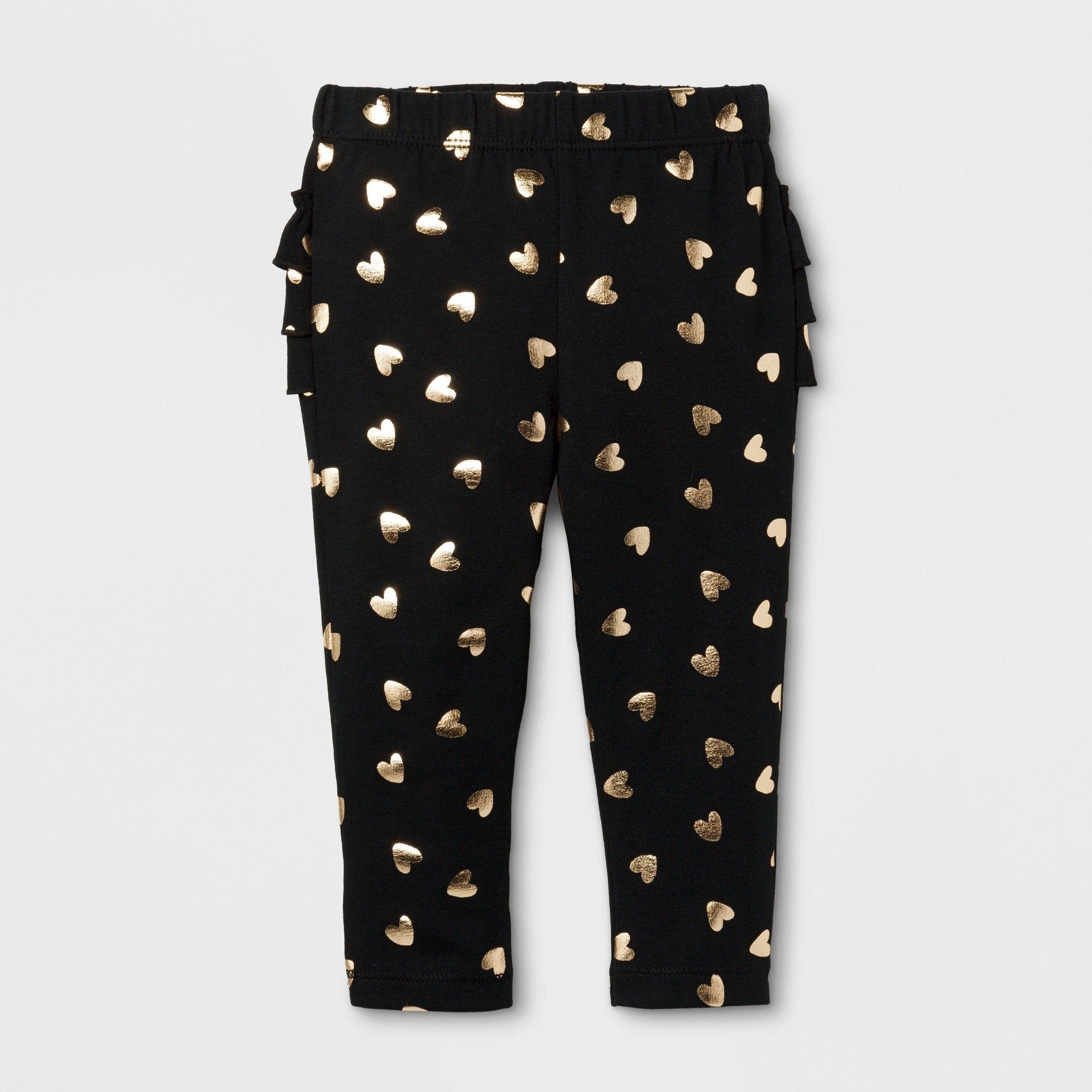 Baby Girls Ruffle Bum Leggings Cat & Jack Black Gold Heart 3 6 M