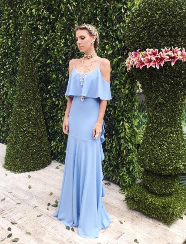 Vestido De Festa Azul Claro Para Casamento Diurno Ou