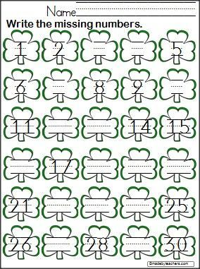 students write the missing numbers 1 30 on this free clover worksheet great for march and st. Black Bedroom Furniture Sets. Home Design Ideas