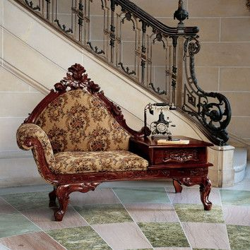 Features:  -Hand carved, deeply detailed rose motif.  -Thickly padded and double welted armrests.  -Design toscano exclusive.  -Hand upholstered in rich floral fabric.  -Solid mahogany wood constructi