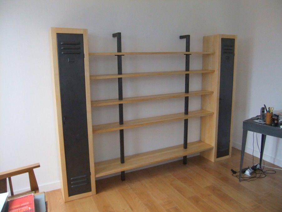 fabrication sur mesure d 39 une biblioth que avec 5 tag res et placard en acier et bois avec des. Black Bedroom Furniture Sets. Home Design Ideas