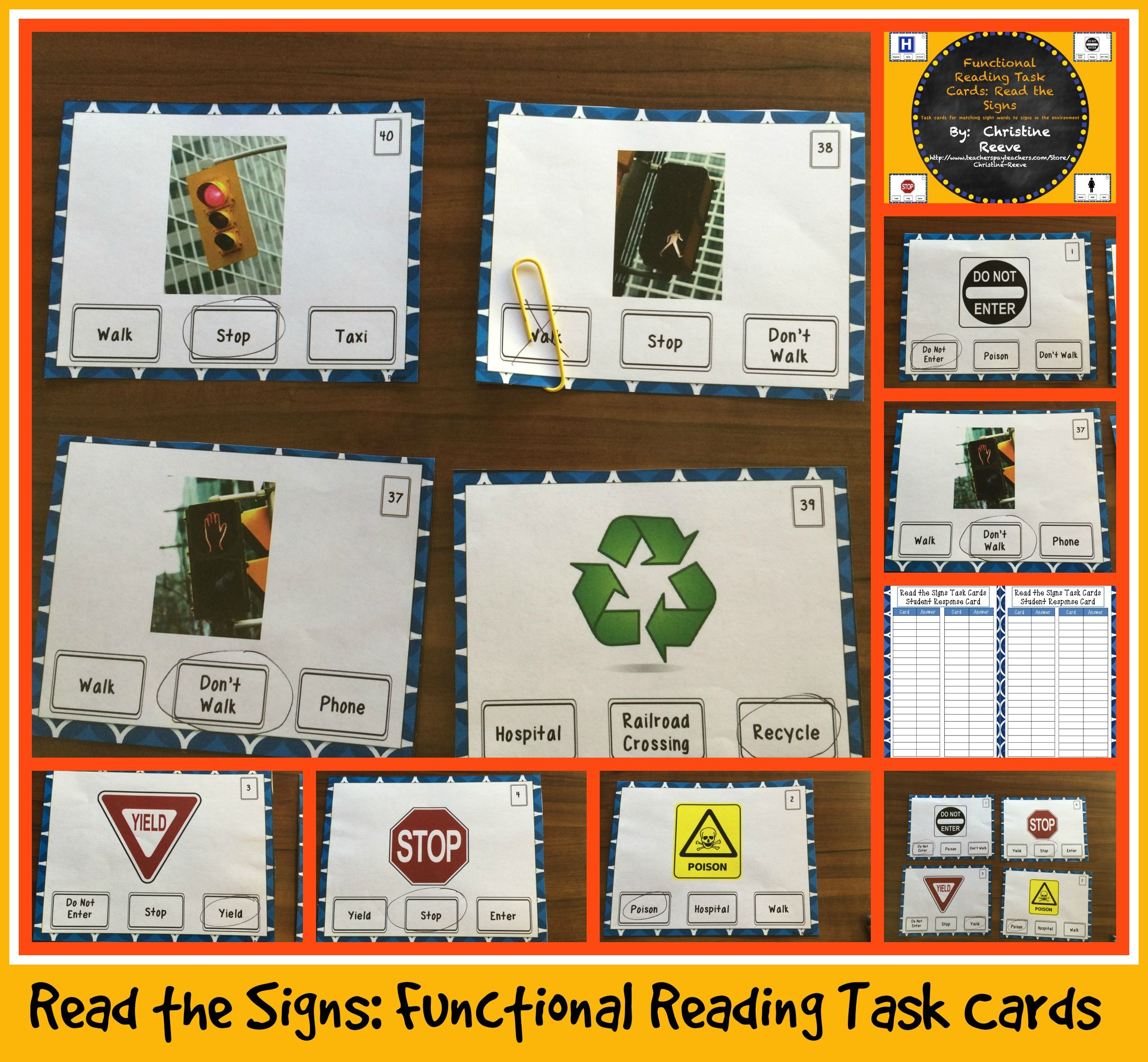 Functional Reading Task Cards Read The Signs Special Ed