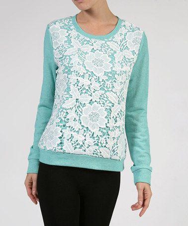 Love this Dark Mint Crochet Overlay Top on #zulily! #zulilyfinds