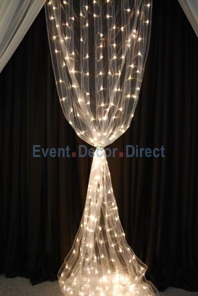 8ft White Organza Curtain With Warm White Led Lights White Led