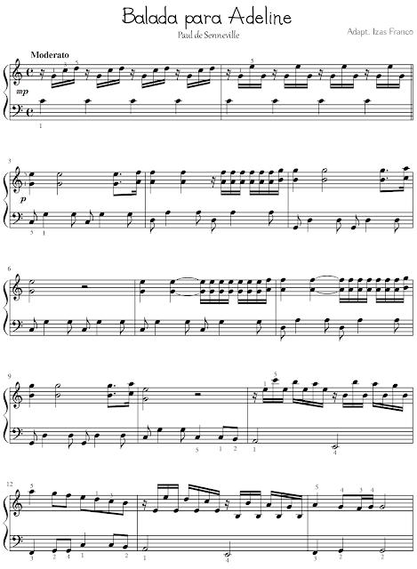 Partitura Piano Balada Para Adeline Music Ideas Partituras Partituras Para Piano Sencillas Piano