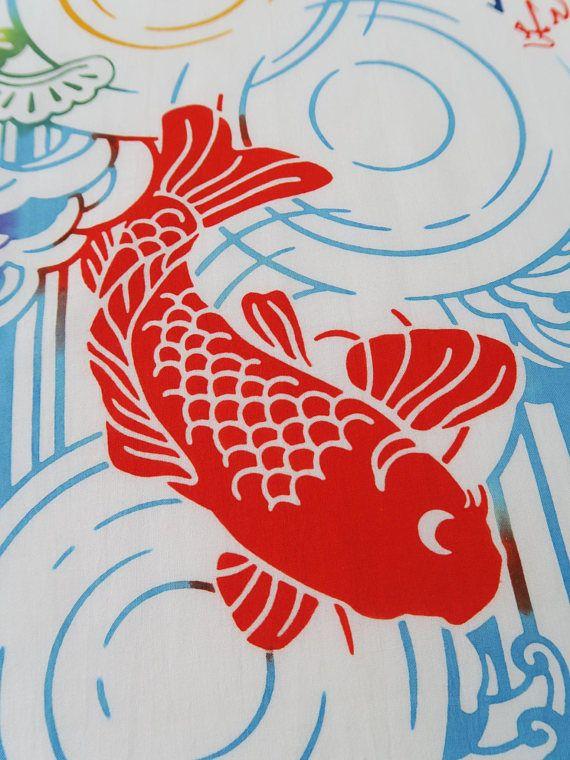 Une belle japonaise Tenugui carpe en tissu idéal pour une décoration
