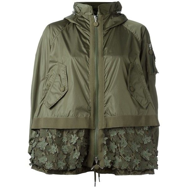 Moncler 'Bugamville' embroidered jacket ($1,650) ❤ liked on Polyvore featuring outerwear, jackets, green, moncler jacket, moncler, zip jacket, ...