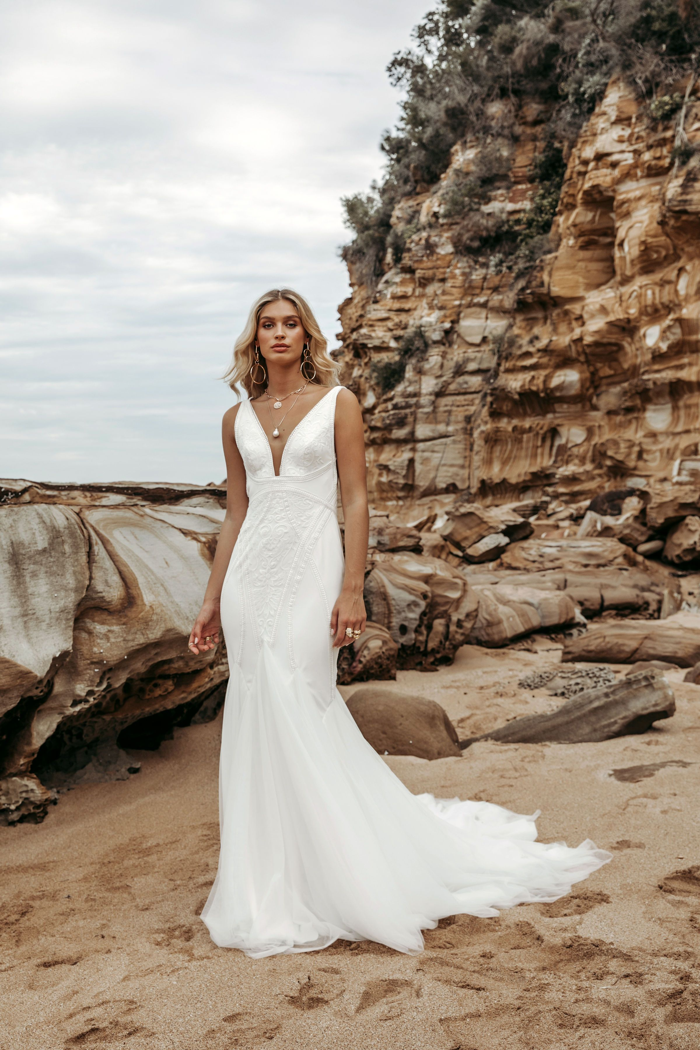 Designed For The Fashion Forward Bride Bodie Is A Clever Mix Of Unconventional Design Lines On A C Indie Wedding Dress Stylish Wedding Dresses Wedding Dresses