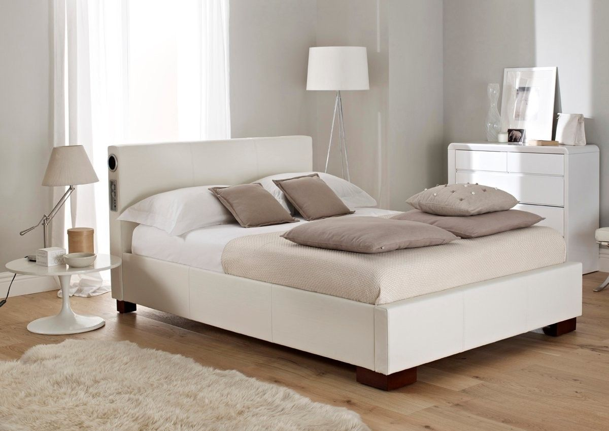 Sound Leather Bed Featuring Built In Stereo Speakers And
