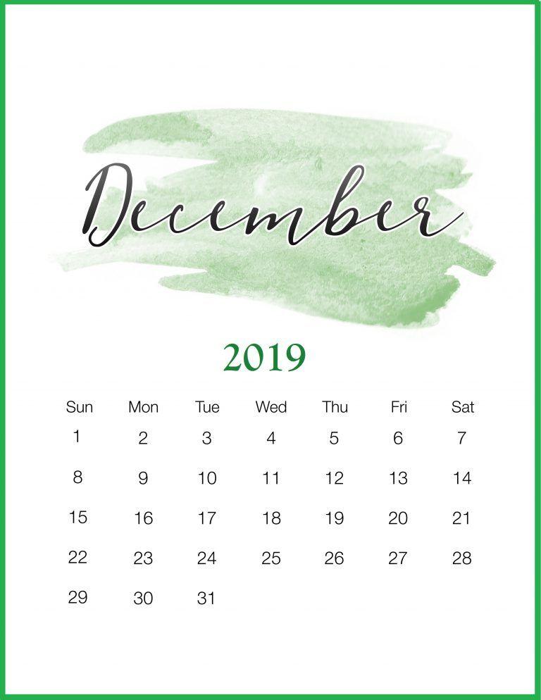 Watercolor 2019 December Printable Calendar Printable calendar