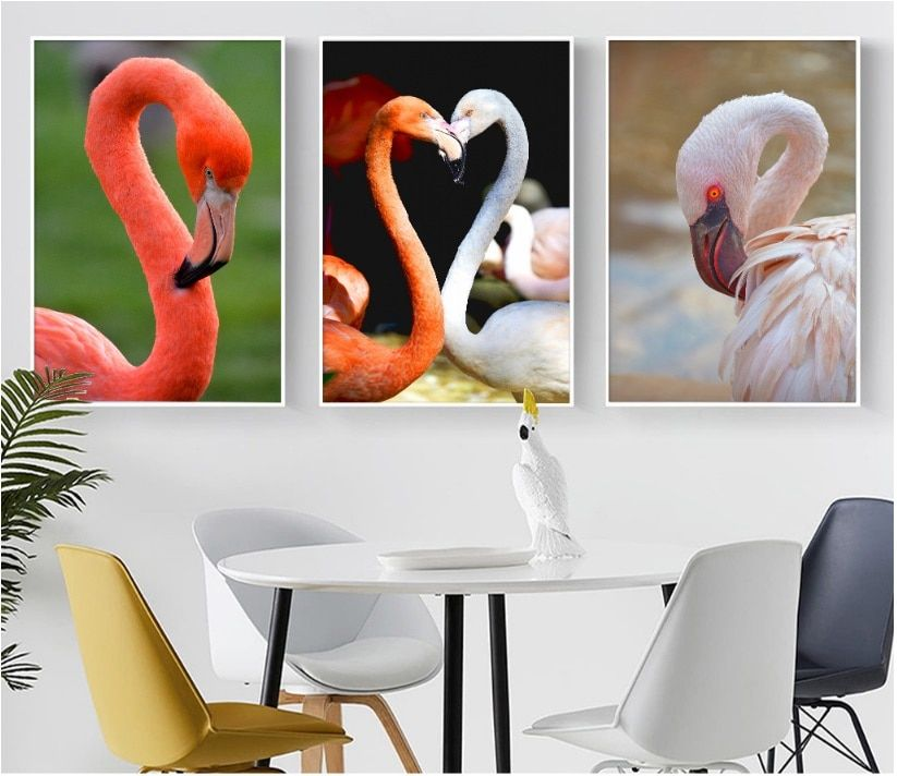 Modern Photography Retro Couple Flamingo Canvas Art Print Painting Poster Wall Pictures For Living Room Home Decoration Unframed In 2020 Canvas Art Prints Living Room Pictures Home Decor Wall Art