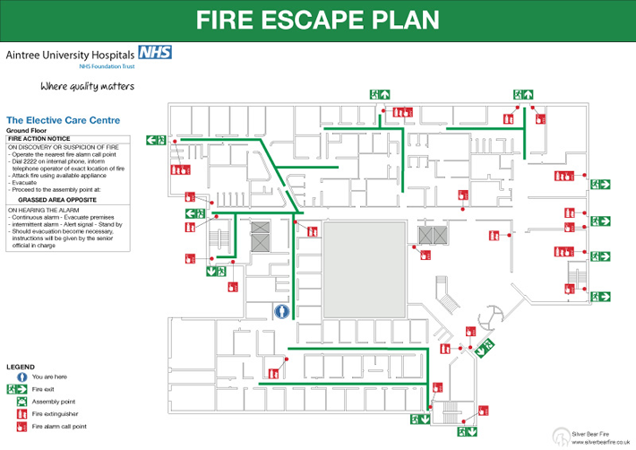 Fire emergency evacuation plan or fire procedure sign for Fire plans