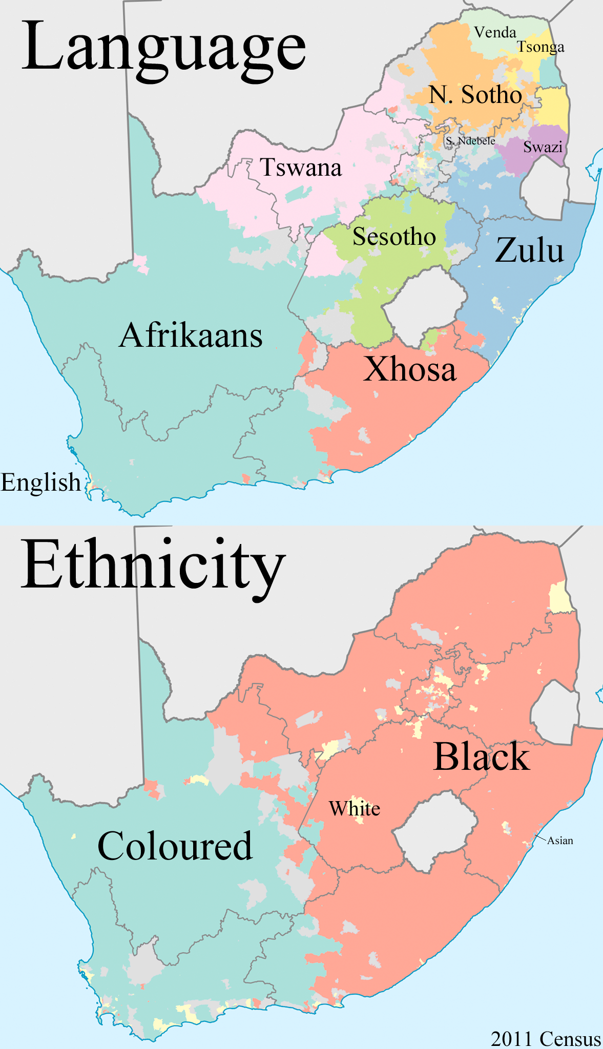 Language and Ethnicity in South Africa | Art | South africa map