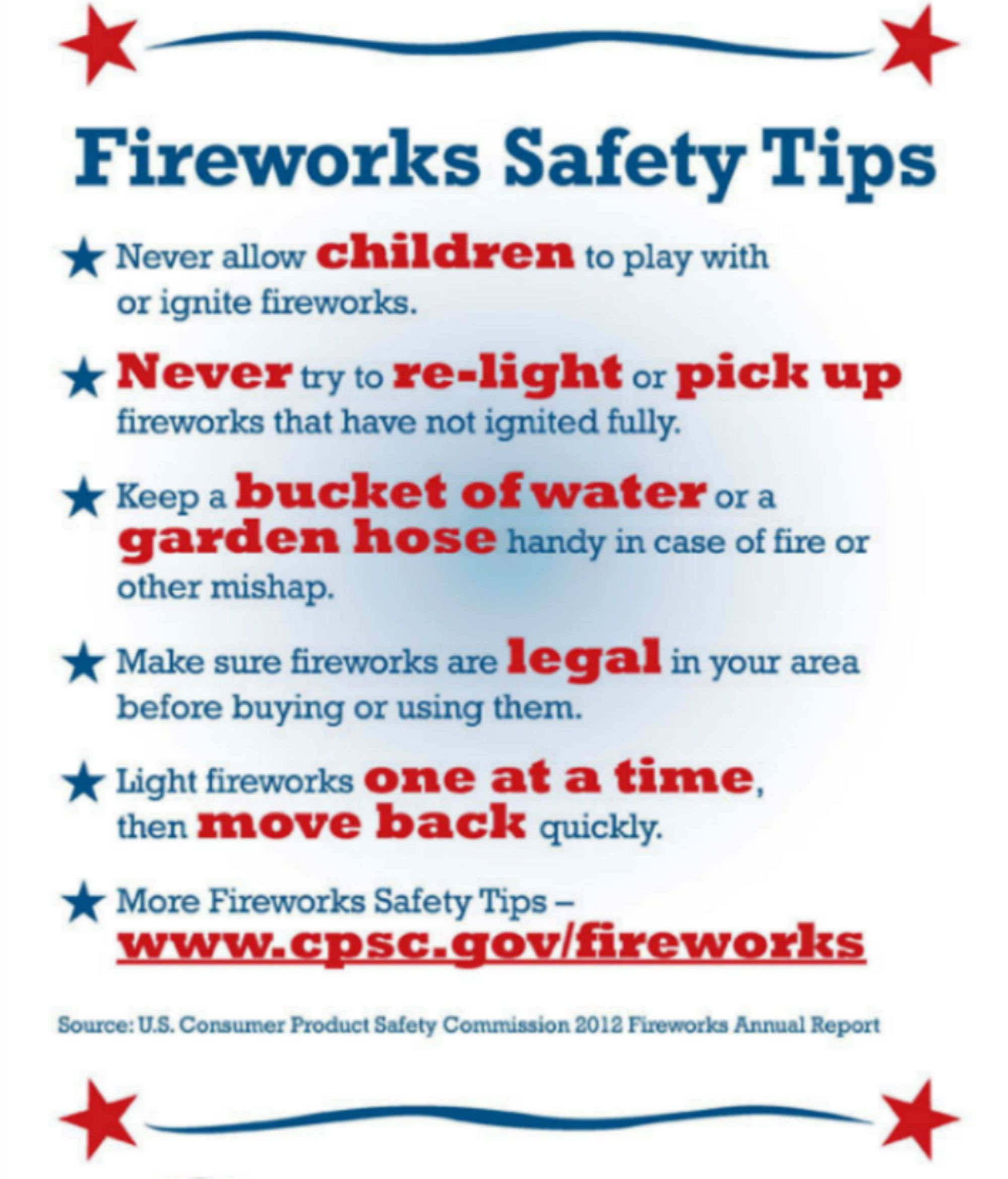 Firework safety tips and local firework show information