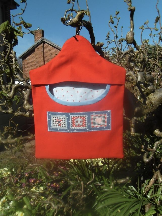 Peg bag in bright red fabric for clothes pins pegs £7.00
