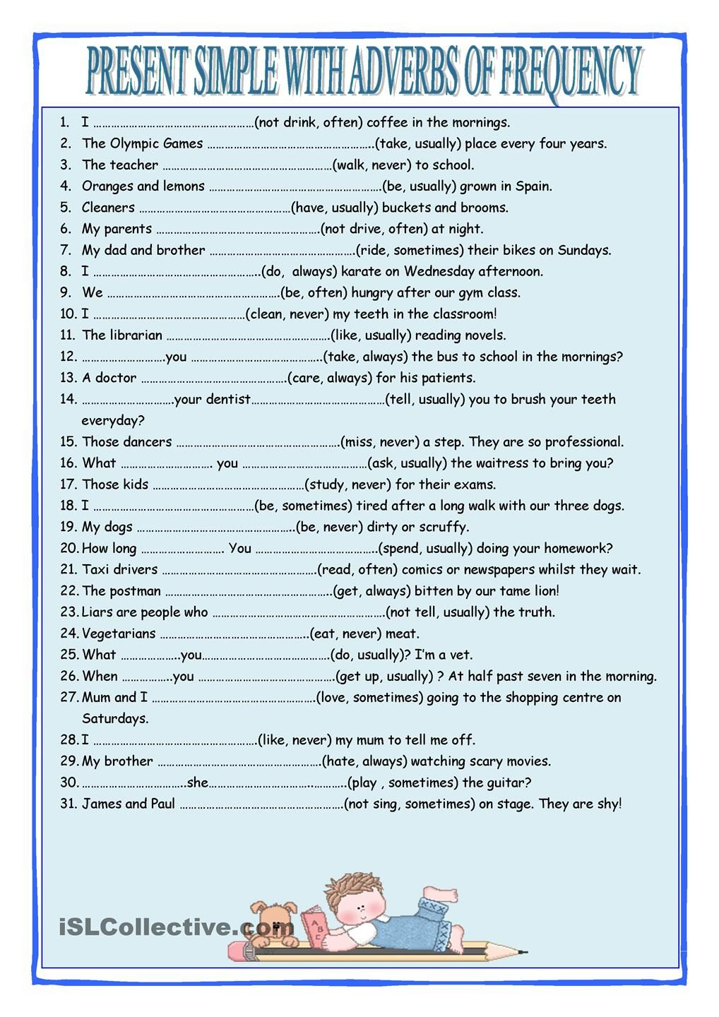 Present Simple with Frequency Adverbs | english | Pinterest ...