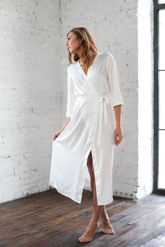 Ivory Satin Robes/ Off White Bridesmaid & Brides Dressing Gown/Gift ...