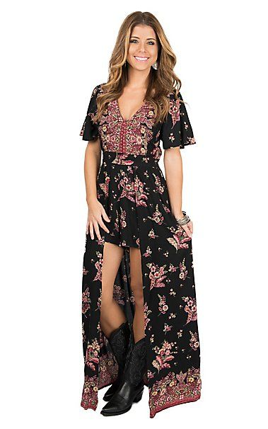 2305fbac8be Angie Women s Black   Pink Floral Short Sleeve Maxi Romper Dress ...