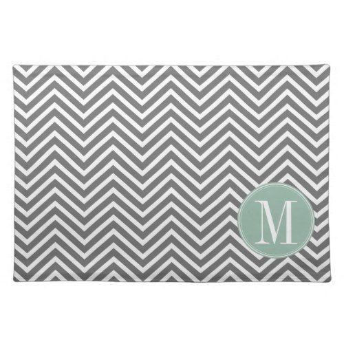 Charcoal and Mint Green Chevrons Custom Monogram Place Mat