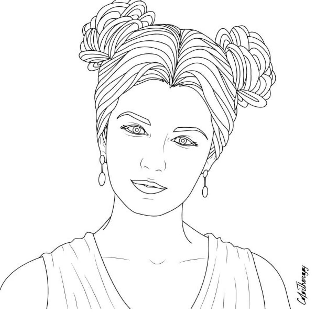 The Sneakpeek For The Next Gift Of The Day Tomorrow Do You Like This One Portrait Woman Roses Shap Desenhos Para Colorir Riscos Para Pintura Colorir