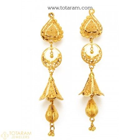 22k Gold Jhumkas Dangle Earrings 235 Gjh1612 This Latest Indian Jewelry Design In 15 150 Grams For A Low Price Of 867 40