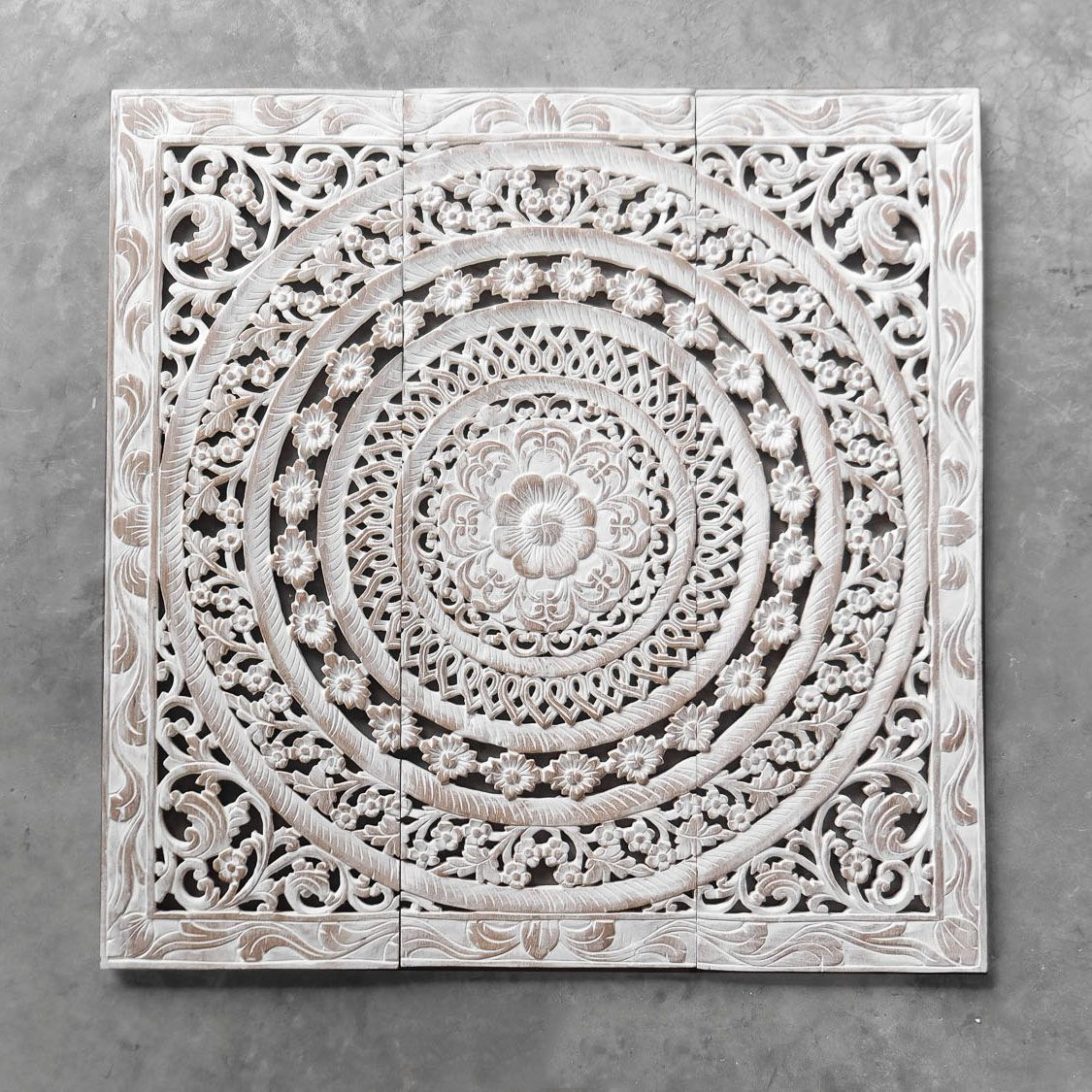 Moroccan Wood Carving Wall Art Hanging Wooden Walls White Wash