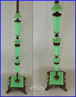Antique Art Deco Jadeite Houze Slag Glass Cast Iron Floor Lamp Base ...