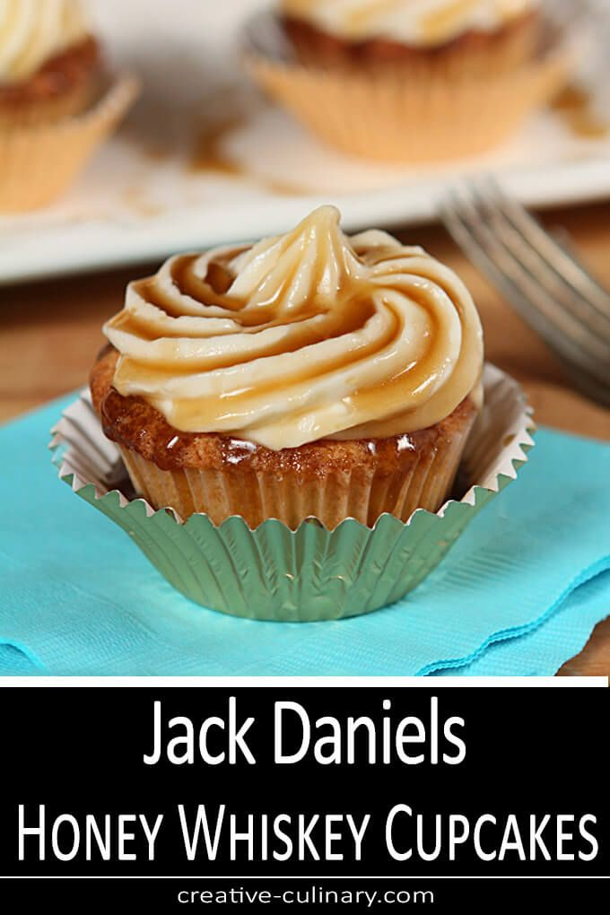 Photo of Jack Daniels Honey Whiskey Cupcakes with a Boozy Drizzle