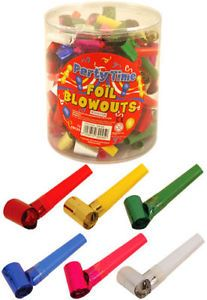 PARTY BLOWERS BLOWOUTS BIRTHDAY LOOT BAG FILLER NOISE TOY FOIL COLOURS