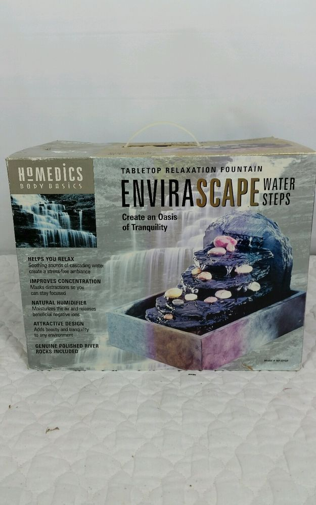 Homedics Envirascape Tabletop Indoor Water Fountain Steps Rock Garden #HoMedics