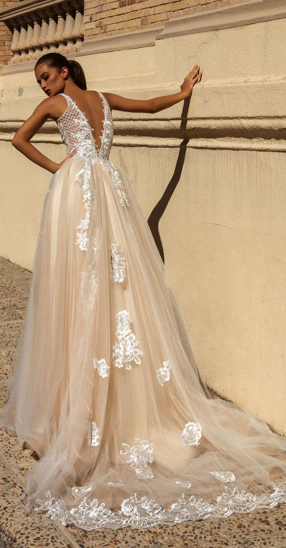 Victoria Soprano 2018 Wedding Dresses sleeveless deep plunging neckline full embellishment #wedding #weddingdress #weddinggown #bridedress