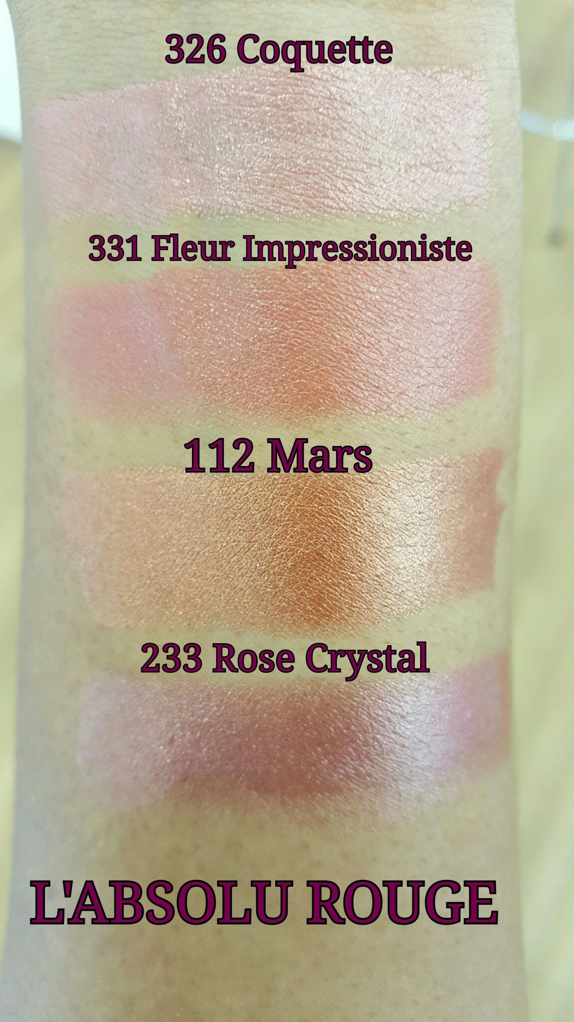 Lancome Lipsticks Swatches- L'absolu Rouge | Lancome | Pinterest ...