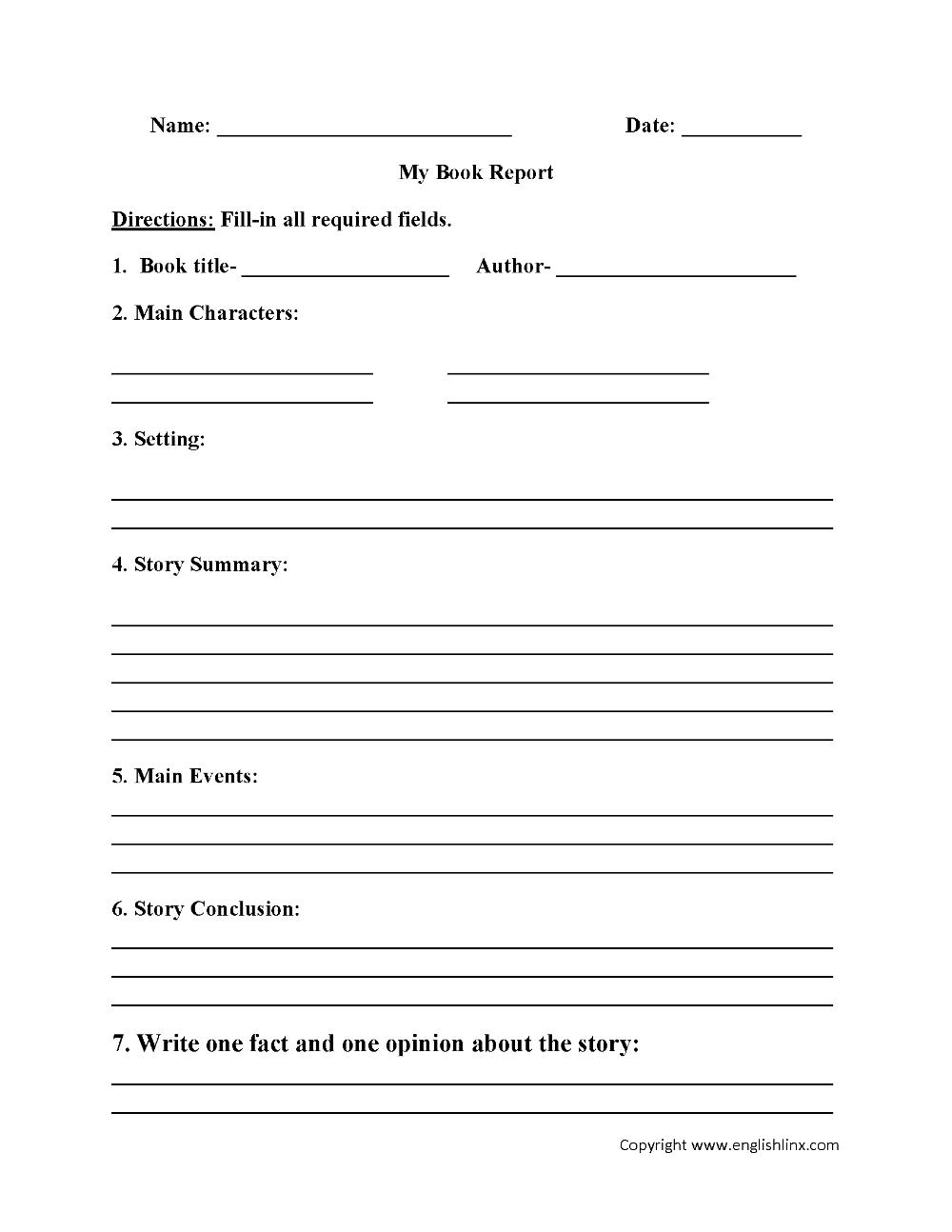 My Book Report Worksheet Englishlinx Board Book Report In 1st Grade Book Report Template 11 Template Ideas 11 Template Ideas [ 1294 x 1000 Pixel ]