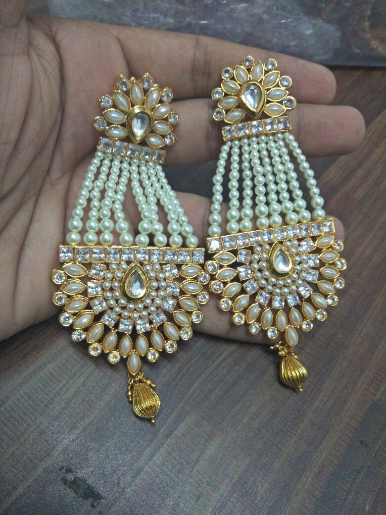 Handmade Indian Pearl Earrings Ethnic Bollywood Traditional Gold Plated Stone