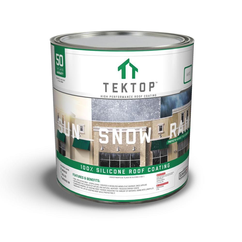 Simiron Tektop 1 Gal White 100 Silicone High Solids Roof Coating In 2020 Roof Coating Home Depot The 100