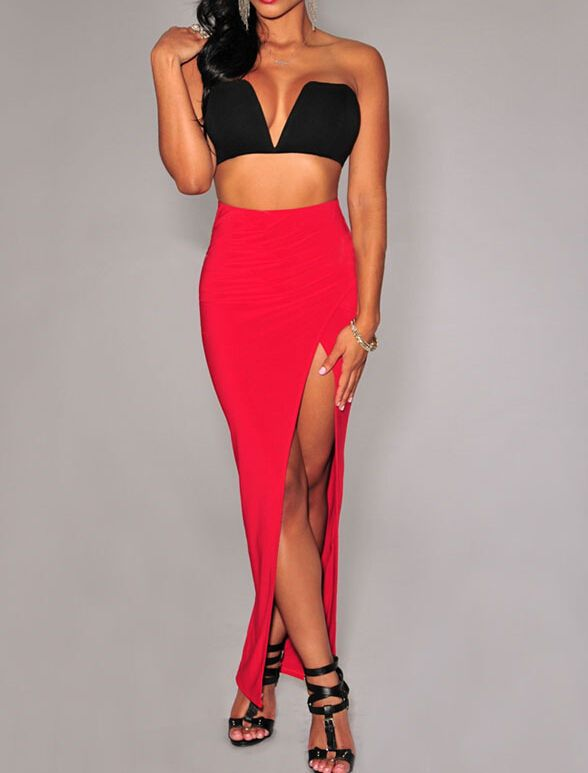 b1818f625 High Waist Ruched Slit Black Red Light Blue Casual Club Party Brief Maxi  Skirt #New #Maxi