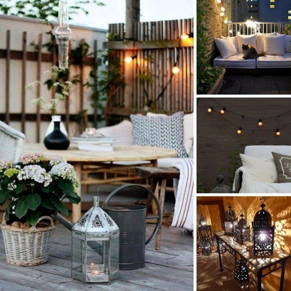Ideen für romantische Balkon beleuchtung Laternen-aus Holz-Metall - 28 ideen fur terrassengestaltung dach