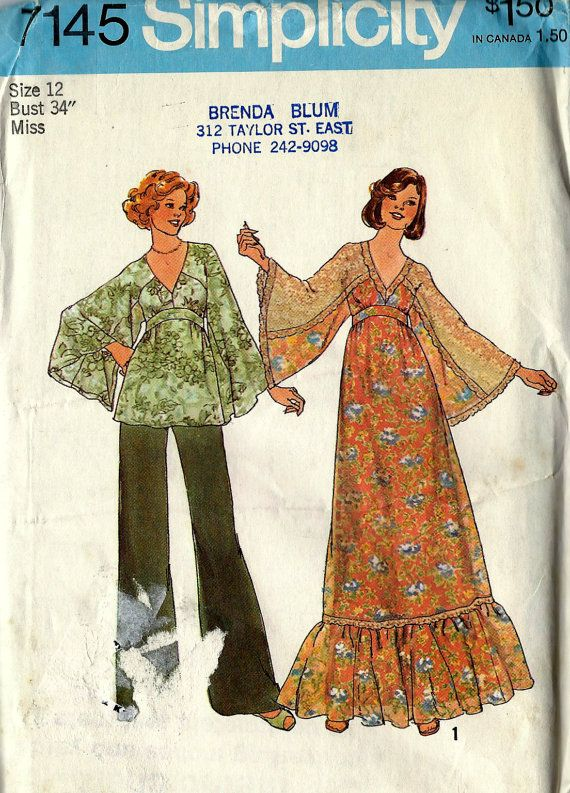 Vintage Sewing Patterns - Simplicity 7145 - Misses\' Dress or Top and ...