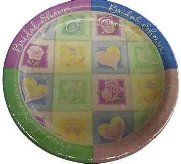"Custom & Unique {10.5"" Inch} 18 Count Multi-Pack Set of Large Size Round Circle Disposable Paper Plates w/ Cute Hearts & Flowers Bridal Shower Party Event ""Green, Yellow, Purple & Blue Colored"""
