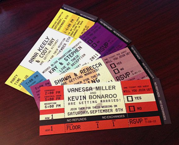 Concert Ticket Invitation-Double Sided Concert tickets, Weddings - invitations that look like concert tickets