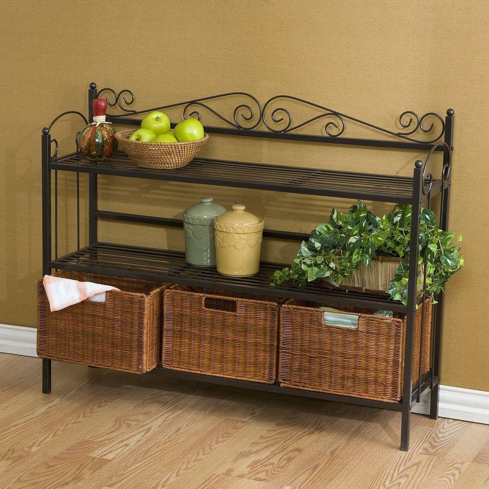 Kitchen Shelf Storage Cabinet 3 Drawer Baker S Rack Baskets
