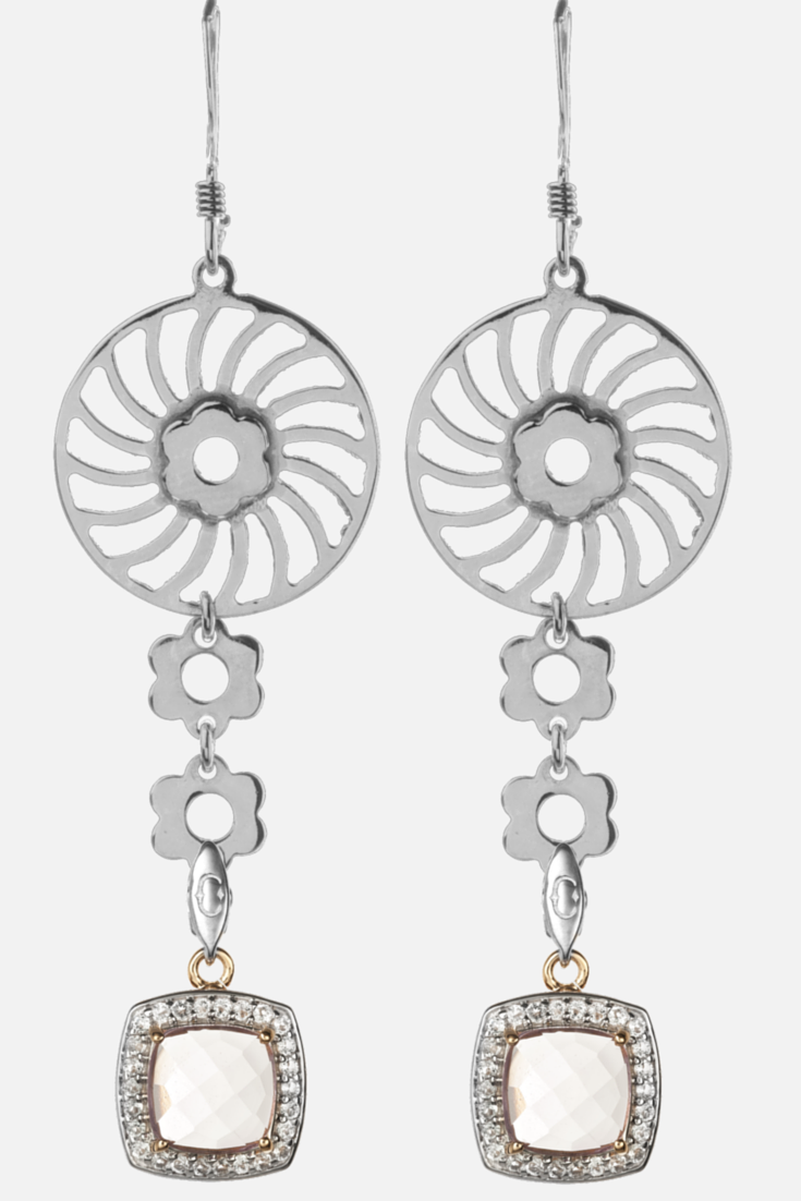 Swirl Silver Flower Earrings with our Pink Amethyst Charms #CandyIce #jewelry #amethyst #danglingearring #floral #boho #bohemian #chic #hipster #festival #gemstones #sterlingsilver www.candyice.com/