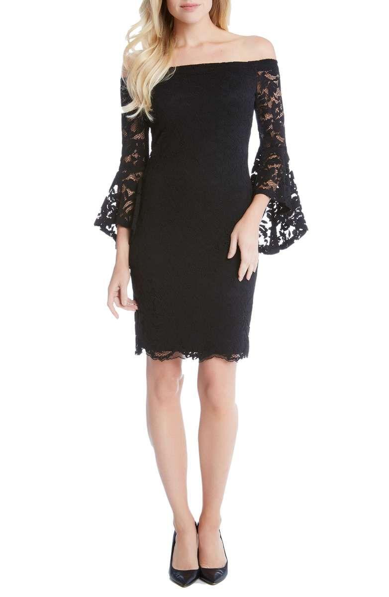 Best dress for wedding guest  KAREN KANE Samantha Lace Off the Shoulder Sheath Dress Black  The