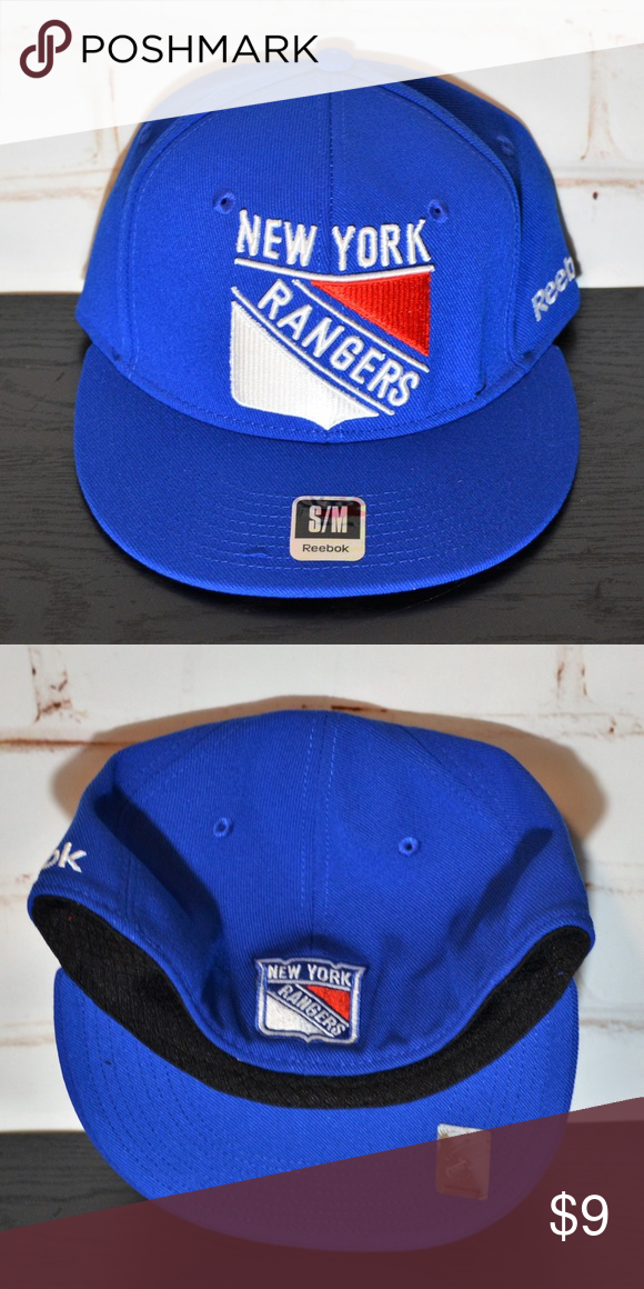 REEBOK New York Rangers Flat Fitted Hat Originally  28 Brand New With Tags  REEBOK New York Rangers Fitted Embroidered Hat Size S M Flat Bill 97%  Polyester ab112590acd9
