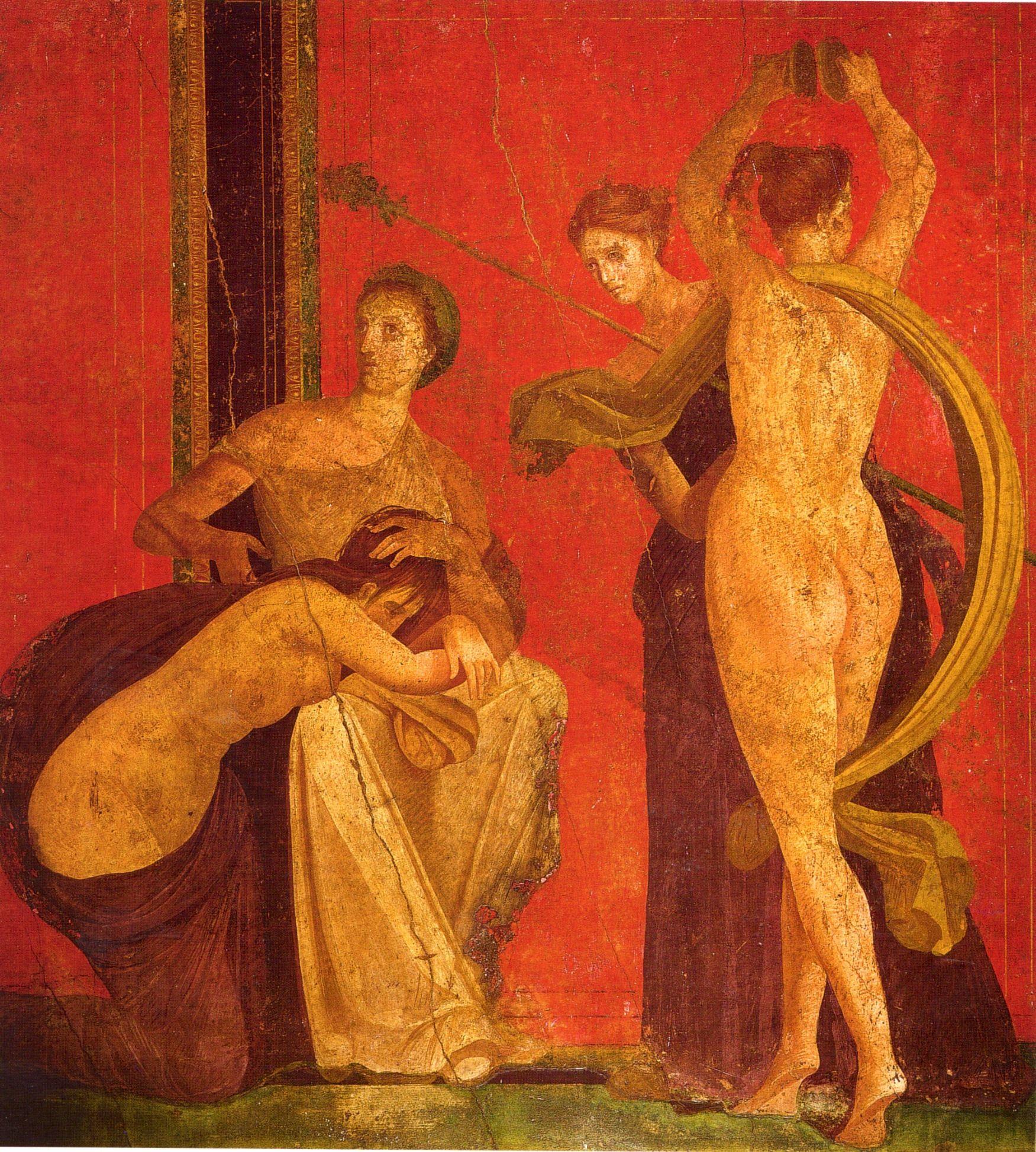 Villa Dei Misteri Scena Della Flagellazione E Termine Del Rito Sala Del Grande Dipinto Pompei Italy Canvas Art Pompeii Roman Art