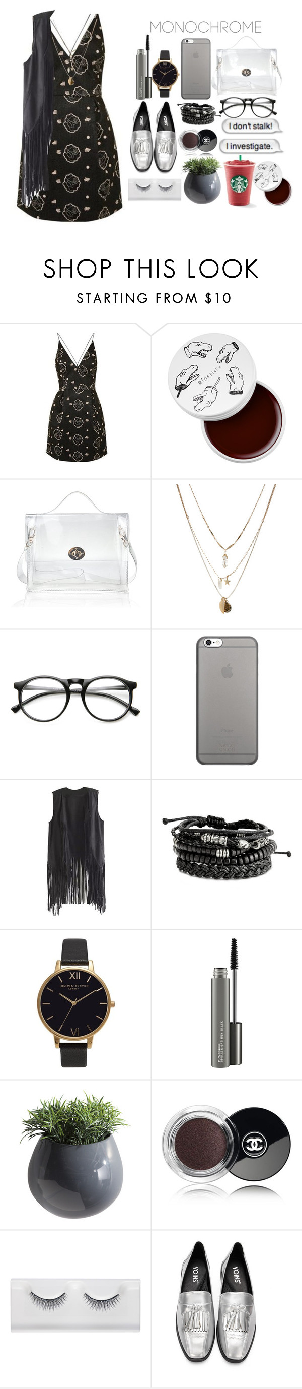 """Look by:Melanie"" by melanie-pacheco ❤ liked on Polyvore featuring Topshop, too cool for school, Orelia, INDIE HAIR, Native Union, Olivia Burton, MAC Cosmetics, Dot & Bo and Chanel"