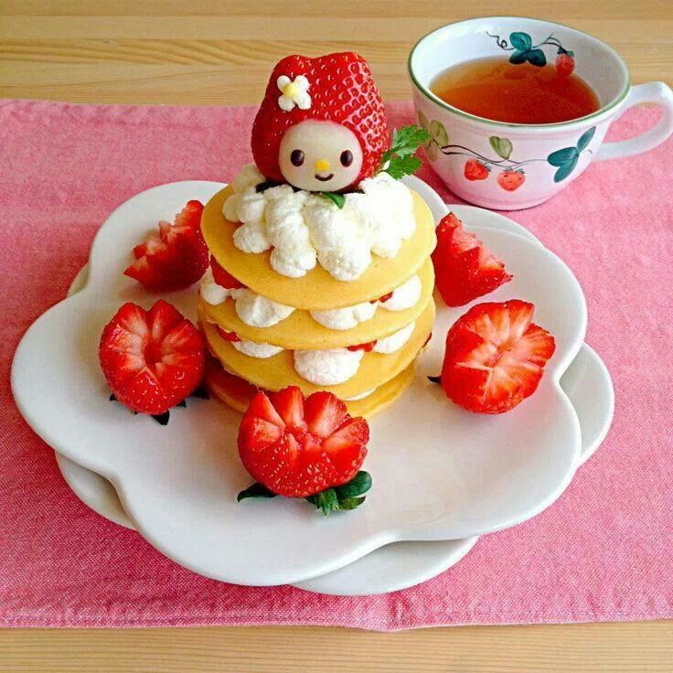 My Melody strawberry pancake breakfast! Cute food
